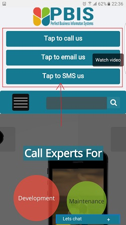 Mobile device interactive buttons for instant response from website as per users action